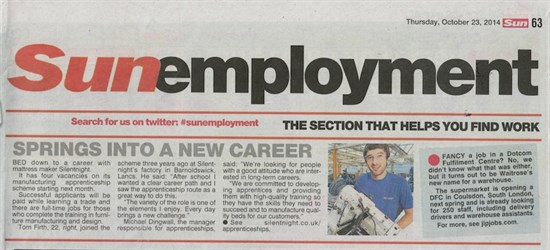 Silentnight Apprenticeships, as featured in The Sun
